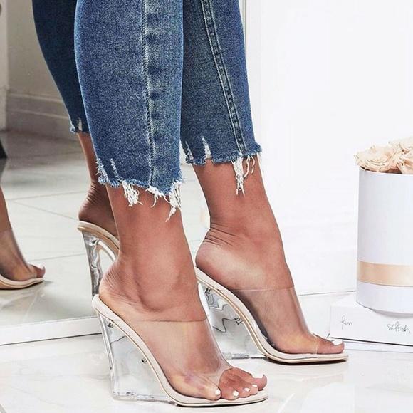 b7ede963c49 NEW🔥 Transparent Clear Lucite Wedge Heel Sandals Boutique